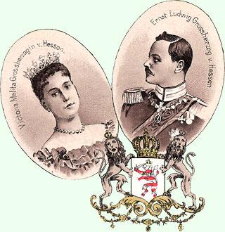 Alte Lithographie von Großherzog & Ehefrau