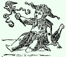 Druckklischee eines Kindes mit Schellenkappe und Szepter