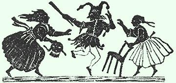 Ein Narr entflieht hüpfend zwei Frauen