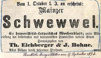 Scan einer Anzeige aus sämtlichen Mainzer Blättern vom 17. September 1876, die den Schwewwel ankündigt