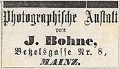 """Scan einer Anzeige für """"J. Bohnes Photographische Anstalt"""" aus dem Mainzer Schwewwel"""