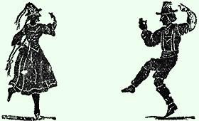 Grafik: Mann und Frau beim volkstümlichen Tanze