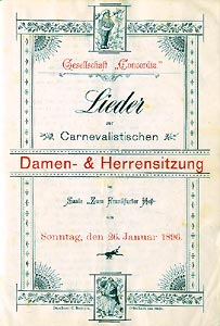 Liederheft der Gesellschaft Concordia zum Carneval 1896