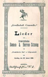 Liederheft der Gesellschaft Concordia Carneval 1898