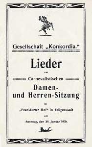 Liederheft der Gesellschaft Concordia Carneval 1910