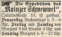 Scan einer Anzeige aus dem Schwewwel über die Öffnungszeiten der Expedition