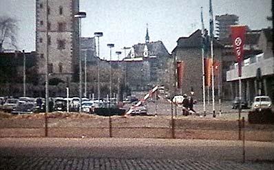 Der Halleplatz im Jahr 1970, kurz vor Baubeginn des Parkhauses