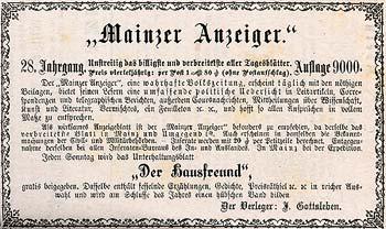 Scan einer Werbeanzeige für den Mainzer Anzeiger mit Unterhaltungsblatt