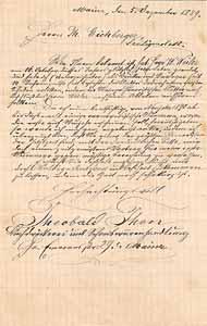 Scan des Briefes von Theobald Thon an Theodor Eichberger