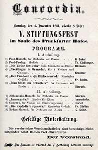 Concordia: V. Stiftungsfest am Sonntag, den 4. December 1881im Saale des Frankfurter Hofes