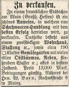 Scan des Verkaufsanzeige für das Anwesen in Seligenstadt