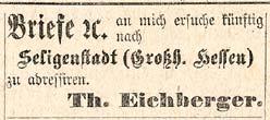 Scan der Anzeige mit der Bitte, Th. Eichbergers Post nach Seligenstadt zu schicken.