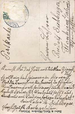 Scan der Postkarte an Sohn Heinrich Rudolf